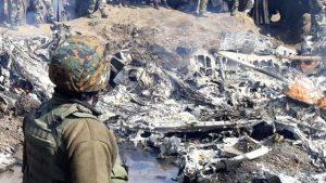 Место падения вертолета Ми-17В-5 из состава 154-го вертолетного отряда (HU154) ВВС Индии в районе Сринагара 27.02.2019 (с) theprint.in