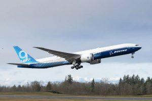 Boeing 777X First Flight at Paine Field in Everett, Washington.